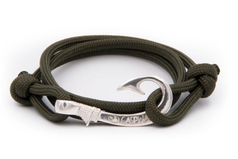 braccialetto gaspway amo da pesca military green amo argento