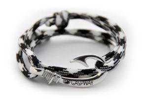 braccialetto amo da pesca black white amo acciaio