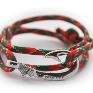 braccialetto amo da pesca red green camo amo acciaio