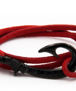 braccialetto amo da pesca alcantara rosso amo nero