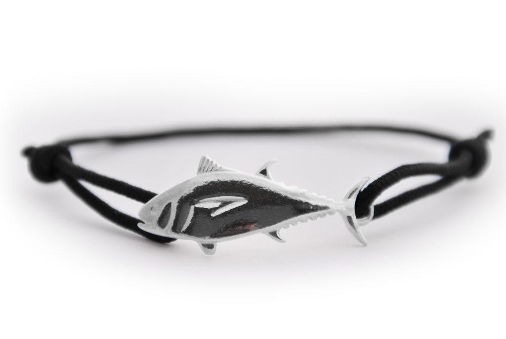 braccialetto tonno argento nero