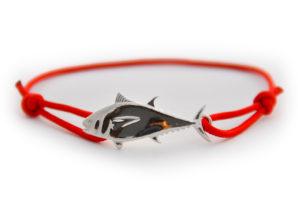 braccialetto tonno argento rosso