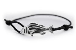 braccialetto dentice argento nero