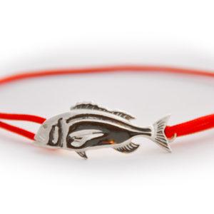 braccialetto dentice argento rosso