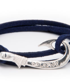 braccialetto gaspway amo da pesca alcantara blu amo argento
