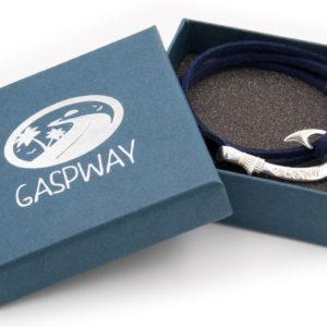 braccialetto gaspway amo da pesca alcantara blu amo argento con scatola