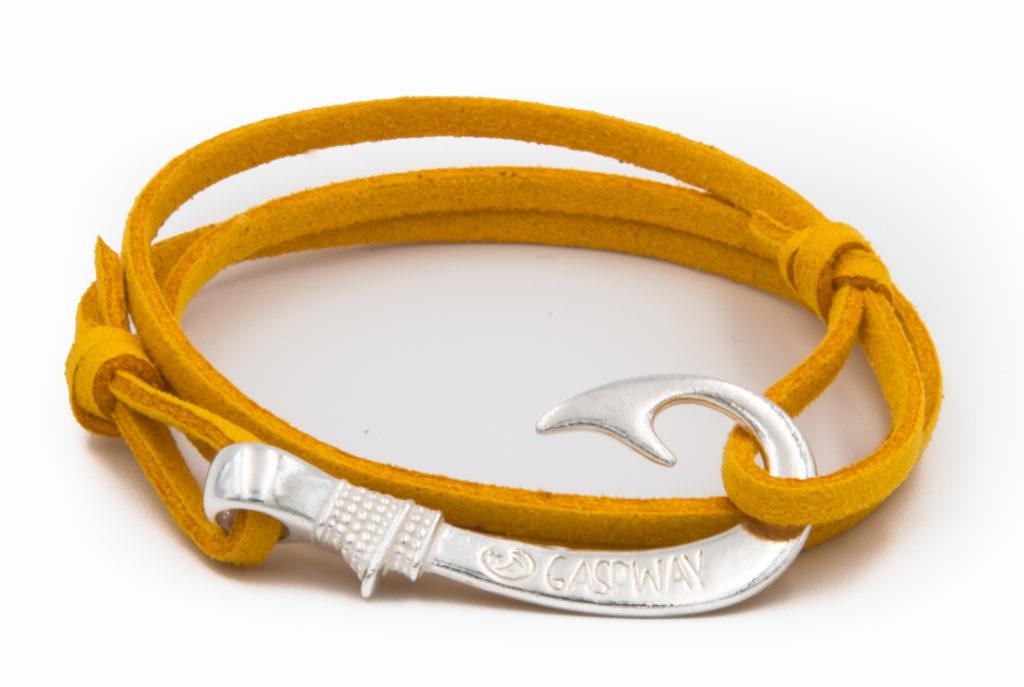 braccialetto amo da pesca alcantara giallo amo argento