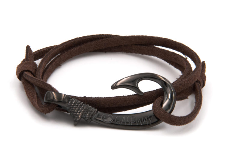 braccialetto gaspway amo da pesca alcantara marrone scuro amo canna di fucile