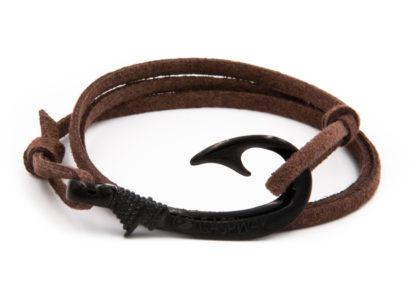 braccialetto gaspway amo da pesca alcantara marrone scuro amo nero