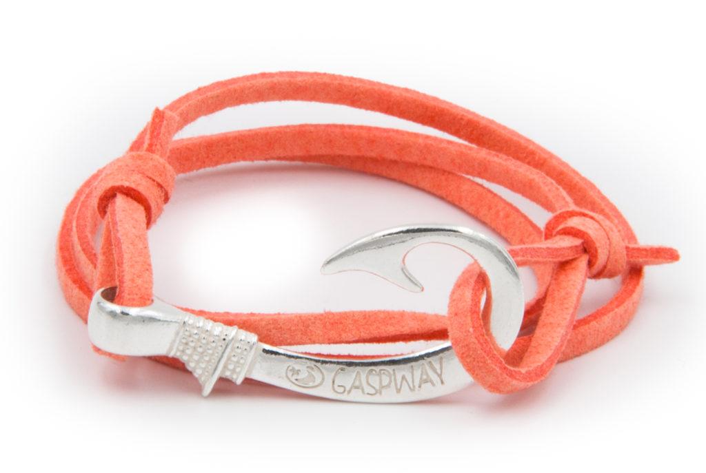 braccialetto gaspway amo da pesca alcantara salmone amo argento con scatola