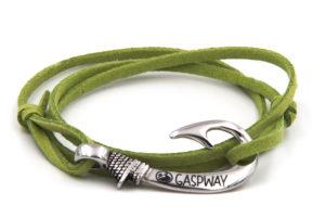 braccialetto gaspway amo da pesca alcantara verde amo acciaio