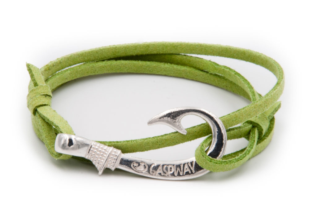 braccialetto gaspway amo da pesca alcantara verde amo argento gaspway amo da pesca alcantara salmone amo argento
