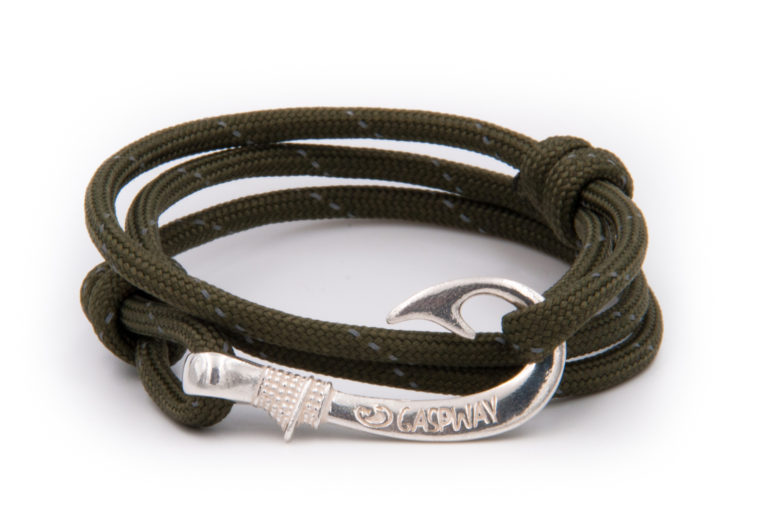 braccialetto amo da pesca gaspway army green line amo argento