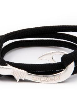 braccialetto amo da pesca gaspway nero amo argento
