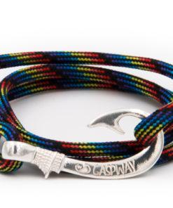 braccialetto amo da pesca gaspway black rainbow camo amo argento