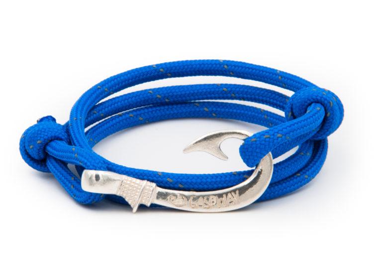 braccialetto amo da pesca gaspway electric blue line amo argento
