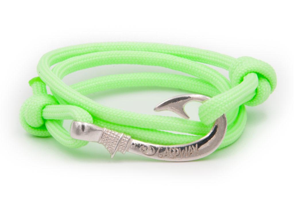 braccialetto amo da pesca gaspway night fluo green amo argento