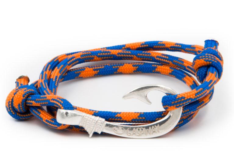 braccialetto amo da pesca gaspway orange blue amo argento