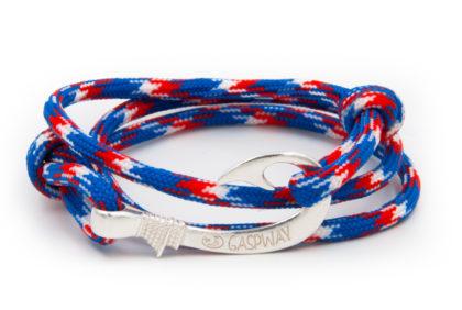 braccialetto amo da pesca gaspway red white blue amo argento