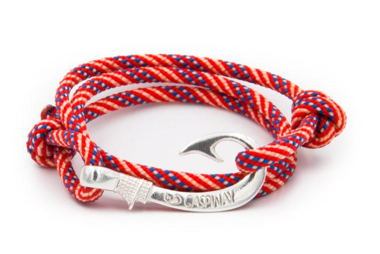 braccialetto amo da pesca gaspway usa flag amo argento